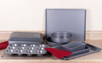 cake baking pans and red potholders