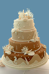 Cake with beach-theme icing