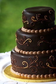 chocolate-iced wedding cake
