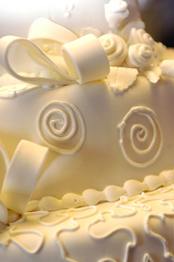 wedding cake with fondant icing