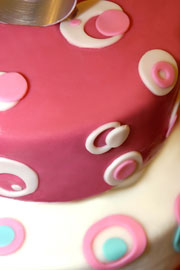 round cake with rolled fondant icing