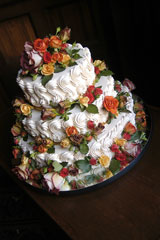 stacked cake with flowers
