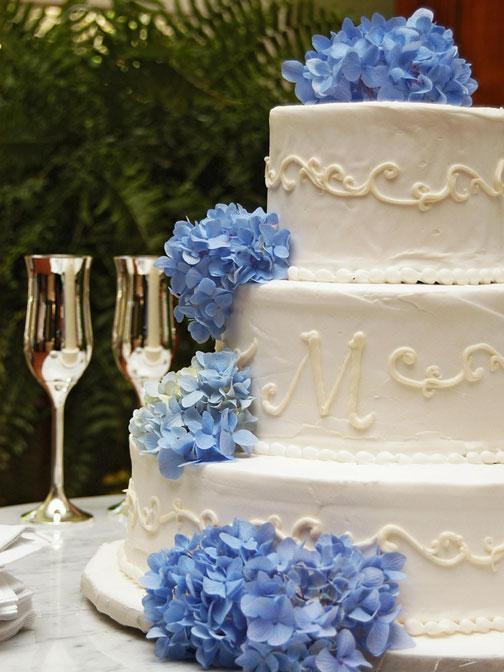Cake Ribbons Blue Hydrangea